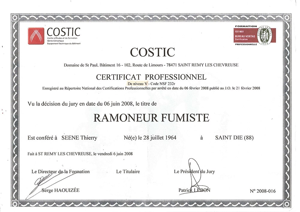 COSTIC Diplome Thierry SEENE